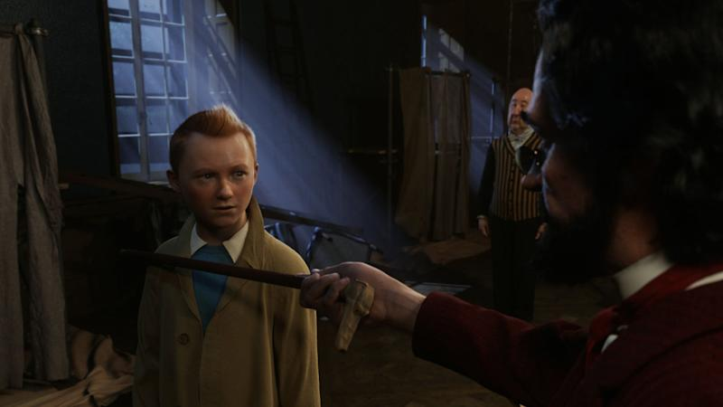 Jamie Bell as Tintin opposite Daniel Craig as Red Rackham in 'The Adventures of Tintin: The Secret of the Unicorn'.
