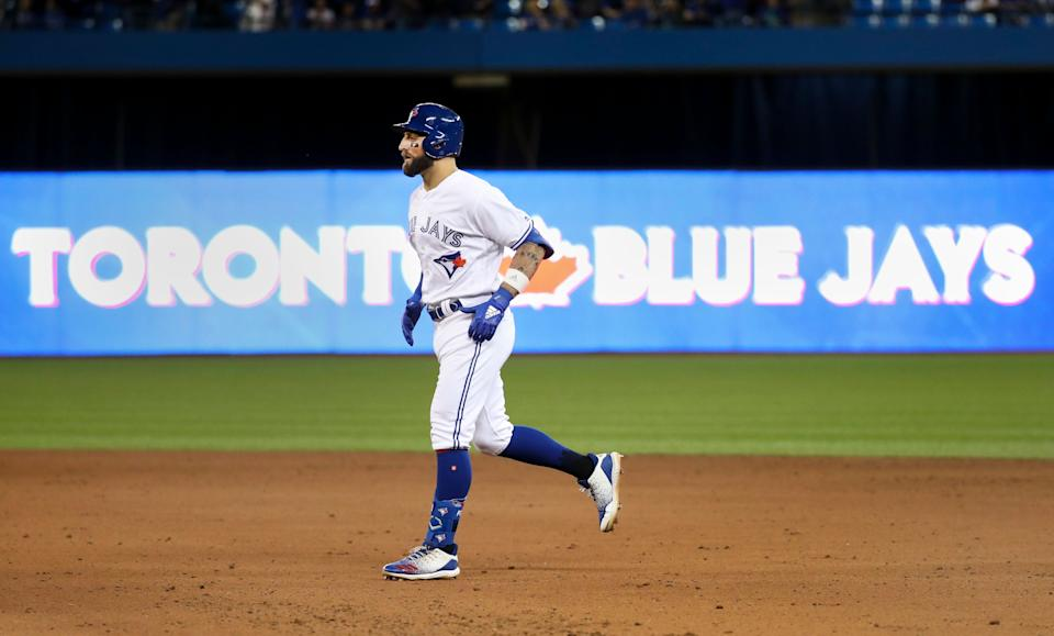 TORONTO, ON - March 28   Toronto Blue Jays center fielder Kevin Pillar (11) runs off the field after being thrown out at first to end the game in the 10th. The Toronto Blue Jays lost to the Detroit Tigers 2-0 in the Jays Home Opener at the Rogers Centre in Toronto. March 28, 2019        (Richard Lautens/Toronto Star via Getty Images)