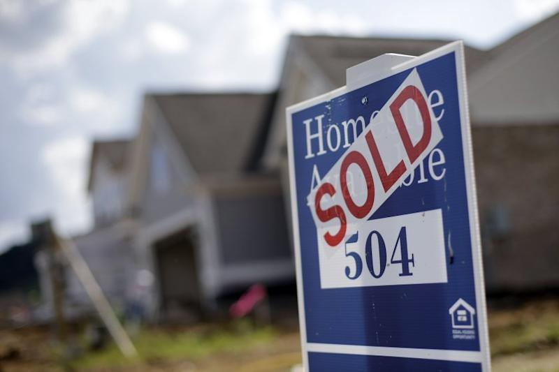 A home in a new development in Nashville, Tenn., is marked sold.