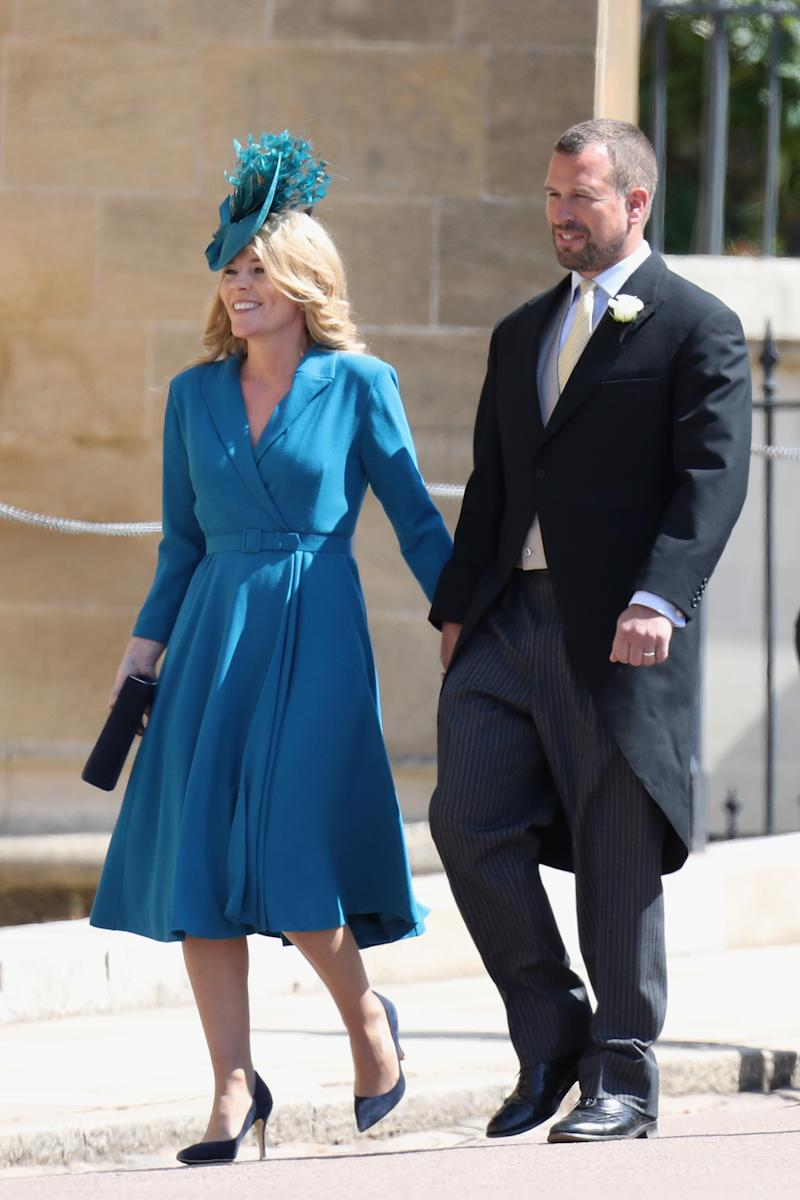 Autumn and Peter Phillips attend the wedding of Prince Harry to Ms Meghan Markle at St George's Chapel, Windsor Castle on May 19, 2018 in Windsor, England. Prince Henry Charles Albert David of Wales marries Ms. Meghan Markle in a service at St George's Chapel inside the grounds of Windsor Castle. Among the guests were 2200 members of the public, the royal family and Ms. Markle's Mother Doria Ragland.