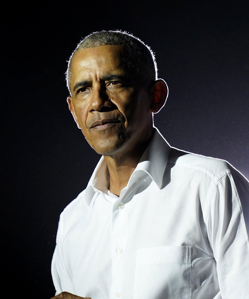 Mandatory Credit: Photo by Lynne Sladky/AP/Shutterstock (10993087i) Former President Barack Obama speaks at a rally as he campaigns for Democratic presidential candidate former Vice President Joe Biden, in Miami Election 2020 Obama, Miami, United States – 02 Nov 2020
