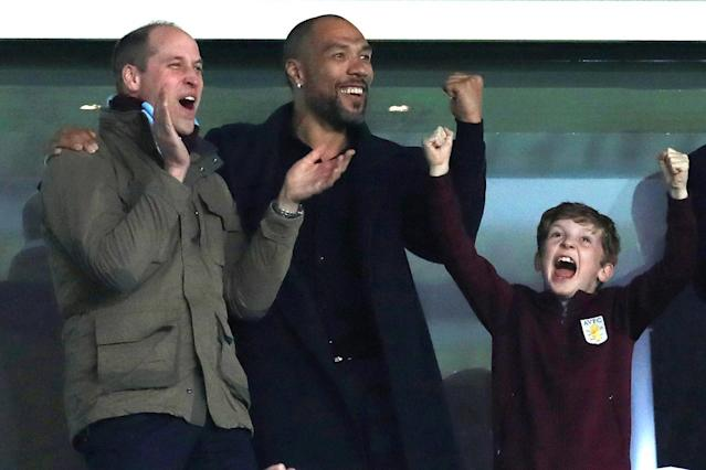 Crowning glory! Prince William spotted celebrating Jack Grealish's late winner as Aston Villa beat Cardiff City