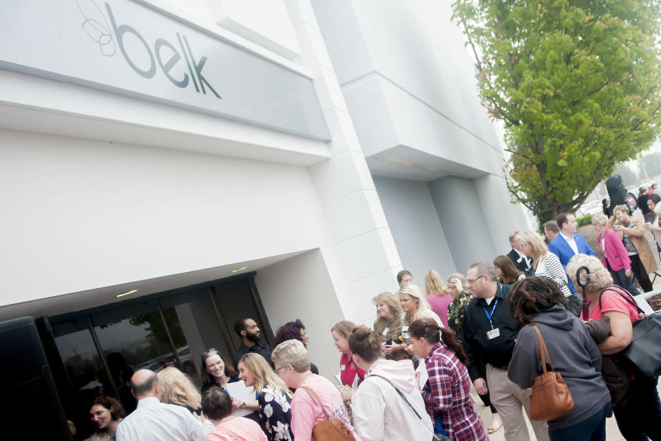 FILE - In this Oct. 11, 2017, file photo, hundreds of people file in to shop at Belk, during the store's opening event at Greenwood Mall in Bowling Green, Ky. Belk, the North Carolina-based department store chain which has catered to generations of shoppers for nearly 190 years, announced Tuesday, Jan. 26, 2021, that it will file for Chapter 11 bankruptcy. (Bac Totrong/Daily News via AP, File)