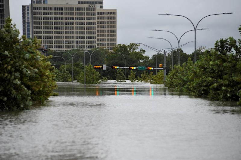 A downtown street is submerged in water in Houston, Texas during Hurricane Harvey. (Nick Oxford / Reuters)