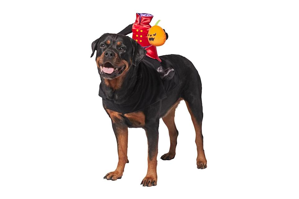 """<p>The Headless Horsemen is switching out horses for hounds this year. </p> <p><strong>Buy it!</strong> Headless Rider Dog Costume, $16.99; <a href=""""https://www.anrdoezrs.net/links/8029122/type/dlg/sid/PEO25HalloweenCostumesforDogsthatWillHaveTrickorTreatersHowlingwithJoykbender1271PetGal12909733202109I/https://www.chewy.com/frisco-headless-rider-dog-cat-costume/dp/242181"""" rel=""""sponsored noopener"""" target=""""_blank"""" data-ylk=""""slk:Chewy.com"""" class=""""link rapid-noclick-resp"""">Chewy.com</a></p>"""