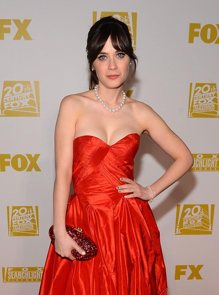 Zooey Deschanel arrives at the FOX After Party for the 70th Annual Golden Globe Awards held at The FOX Pavillion at The Beverly Hilton Hotel on January 13, 2013 in Beverly Hills, California.