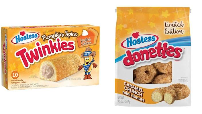 """<p>The Hostess <a href=""""https://www.businesswire.com/news/home/20200903005535/en"""" rel=""""nofollow noopener"""" target=""""_blank"""" data-ylk=""""slk:fall treat lineup"""" class=""""link rapid-noclick-resp"""">fall treat lineup</a> looks incredible this year, and among the returning seasonal desserts we so desperately crave are pumpkin spice Twinkies and caramel crunch mini donuts. They're on shelves now and only available for a limited time, so grab them while you can!</p>"""