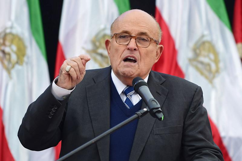 Former New York City Mayor, Rudy Giuliani, delivers a speech about Iran in Warsaw, Poland, on Feb. 13, 2019.