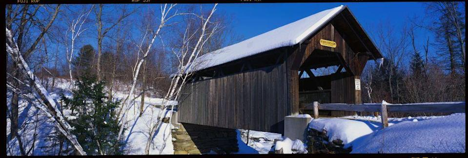 """<p>The exact stories of Gold Brook Bridge, also known as <a href=""""https://www.onlyinyourstate.com/vermont/vt-urban-legends/"""" rel=""""nofollow noopener"""" target=""""_blank"""" data-ylk=""""slk:Emily's Bridge"""" class=""""link rapid-noclick-resp"""">Emily's Bridge</a>, near Stowe, Vermont, all vary, but they all center around a heartbroken woman who took her life near the bridge. Her spirit is said to haunt the locale, and she is known to be particularly hostile toward males that cross the bridge.</p>"""