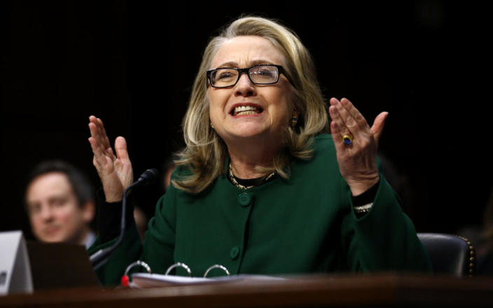 <p>Secretary of State Hillary Clinton responds to intense questioning on the September 2012 attacks on U.S. diplomatic sites in Benghazi, Libya, at a Senate Foreign Relations Committee hearing on Capitol Hill in Washington on Jan. 23, 2013. (Photo: Jason Reed/Reuters)</p>