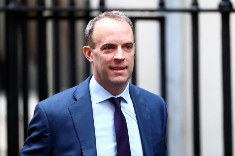 FILE PHOTO: Britain's Foreign Secretary Dominic Raab is seen at Downing Street in London