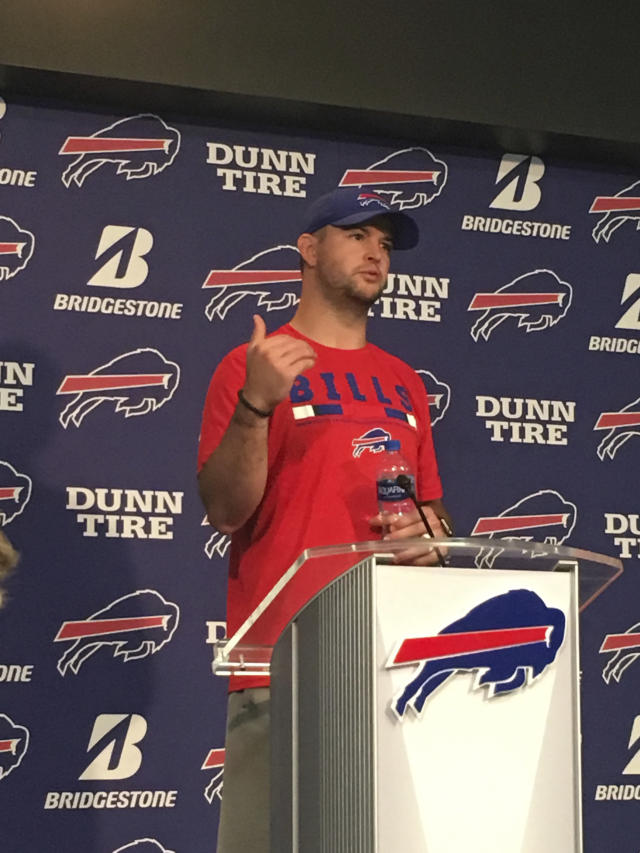 Buffalo Bills quarterback A.J. McCarron speaks in Orchard Park, N.Y., Tuesday, April 17, 2018. McCarron can't help but notice the parade of quarterback prospects the Buffalo Bills have paraded through their facility in recent days. That's not preventing Buffalo's offseason free-agent addition from preparing as if he'll be the starter no matter what happens in the draft next week. (AP Photo/John Wawrow)