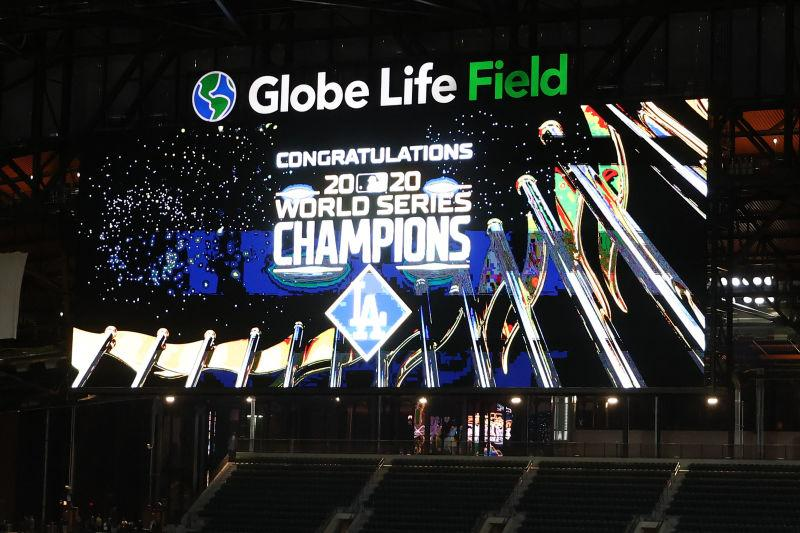 The scoreboard displays a Congratulations message to the Los Angeles Dodgers after defeating the Tampa Bay Rays 3-1 in Game Six to win the 2020 MLB World Series at Globe Life Field on October 27, 2020 in Arlington, Texas.