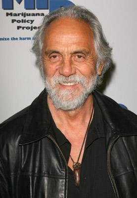 Tommy Chong with black jacket on and necklace