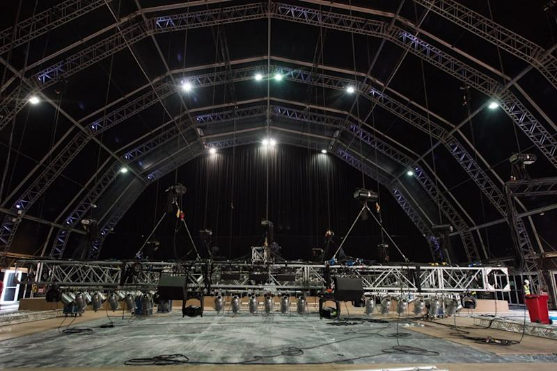 The under-construction Flash Forum on Fight Island in Abu Dhabi. (Courtesy of the UFC)