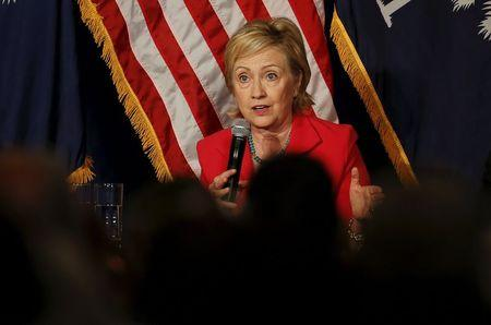 U.S. Democratic presidential candidate Hillary Clinton speaks at a campaign event in West Columbia