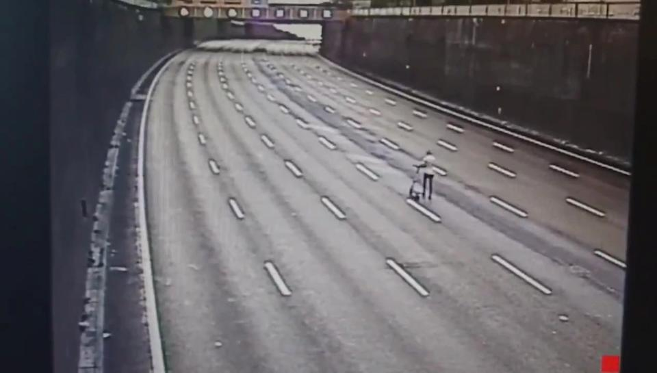 The man drove his e-scooter in the middle of the A38 Aston Express in Birmingham.  (CMPG / SWNS)