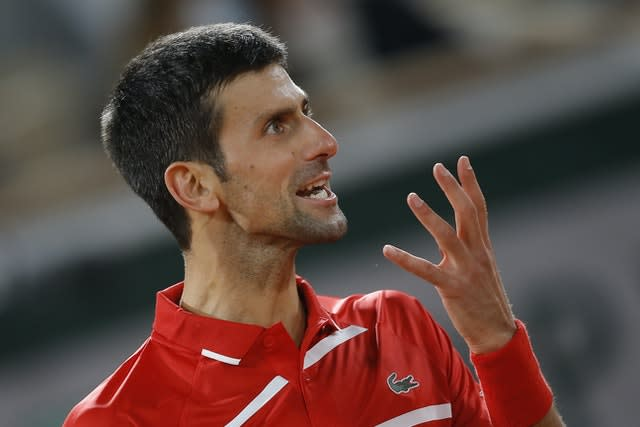 Novak Djokovic shows his frustration during his five-set tussle with Stefanos Tsitsipas