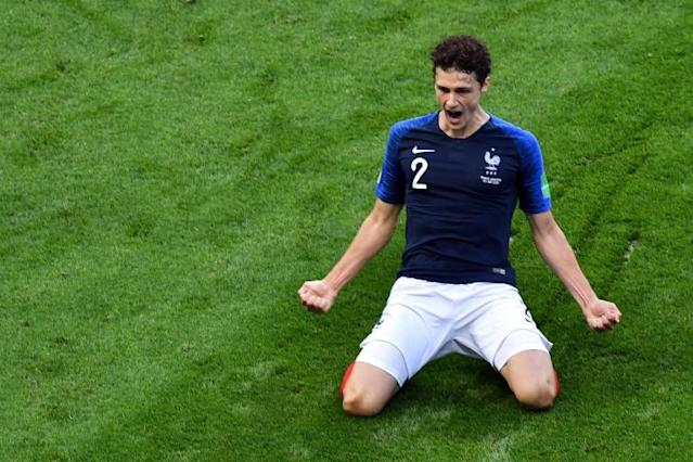 Pavard celebrates after scoring his wonder goal against Argentina in the last 16