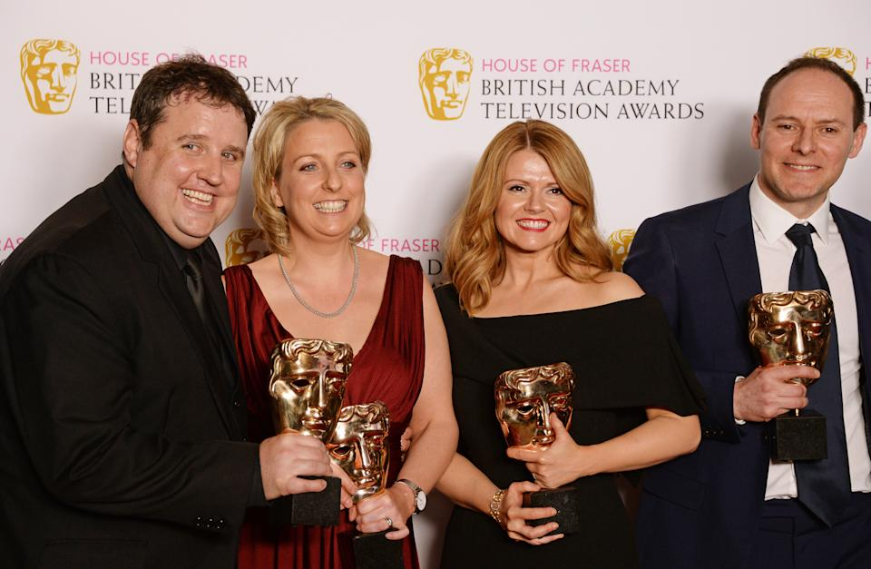 Peter Kay, Gill Isles, Sian Gibson and Paul Coleman, winners of the Best Scripted Comedy award for 'Peter Kay's Car Share',  pose in the winners room at the House Of Fraser British Academy Television Awards 2016 at the Royal Festival Hall on May 8, 2016 in London, England.  (Photo by David M. Benett/Dave Benett/Getty Images)