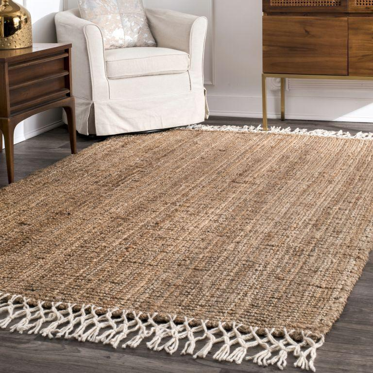 Natural Hand Woven Jute with Wool Fringe Area Rug