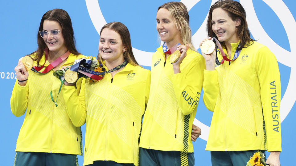 Kaylee McKeown, Chelsea Hodges, Emma McKeon and Cate Campbell, pictured here after winning the 4x100m medley relay.