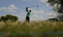 Tiger Woods plays hits his drive on the sixth tee during round-robin play at the Dell Technologies Match Play golf tournament, Thursday, March 28, 2019, in Austin, Texas. (AP Photo/Eric Gay)
