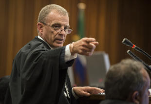 State prosecutor Gerrie Nel gestures as the Oscar Pistorius murder trial resumes Thursday. (AP)