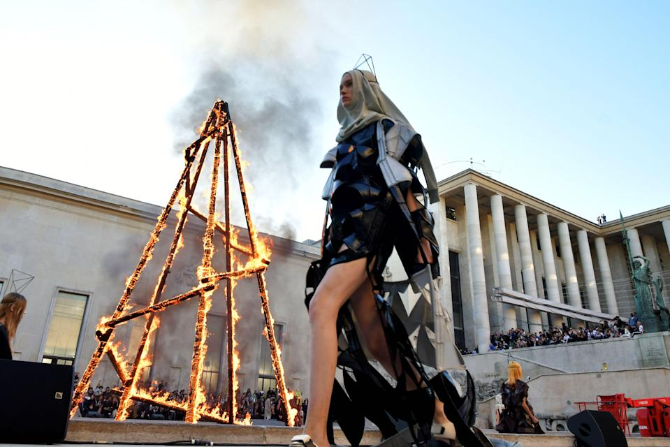 A burning pyre set the stage for Rick Owens' PFW show. [Photo: Rex]