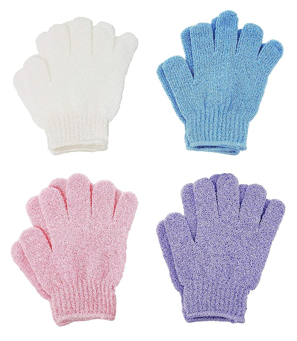 <p>Exfoliate from the neck down with these handy <span>ATB 4 Pairs Exfoliating Gloves</span> ($8). </p>