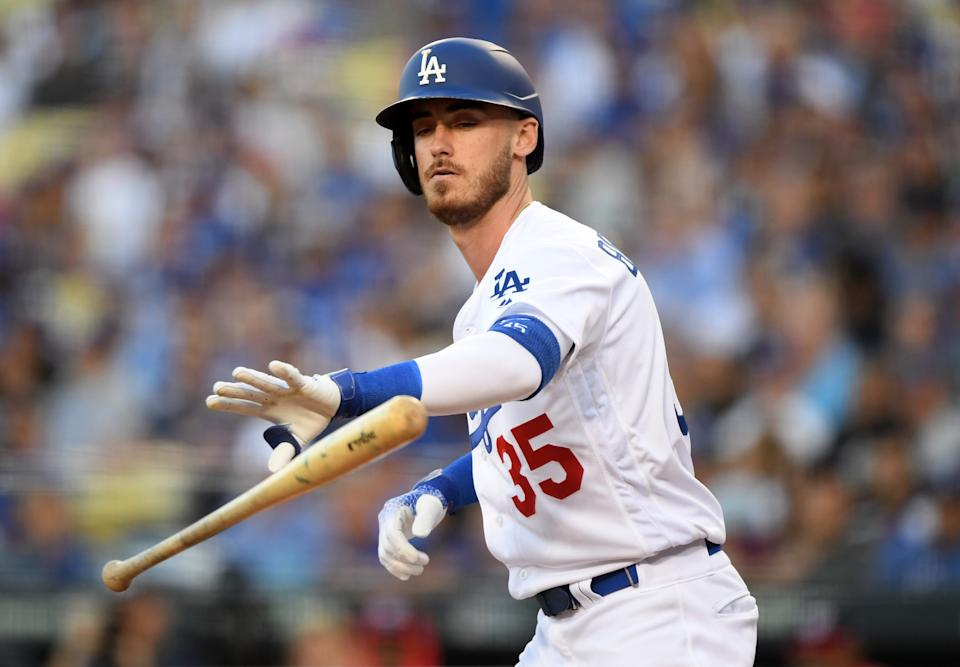 Cody Bellinger #35 of the Los Angeles Dodgers reacts to a walk during a game this season. (Harry How/Getty Images)