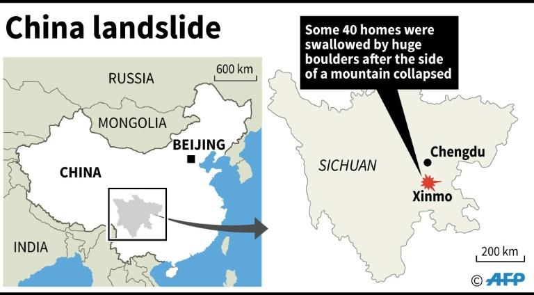 Graphic showing Xinmo in China's Sichuan province