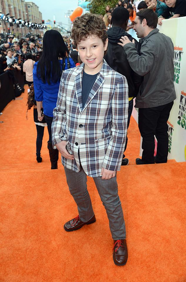 Nolan Gould arrives at the 2012 Nickelodeon Kids' Choice Awards in Los Angeles, California.