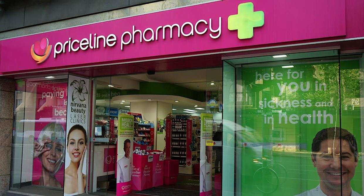 A picture of the outside of a Priceline pharmacy on Oxford St in Sydney.