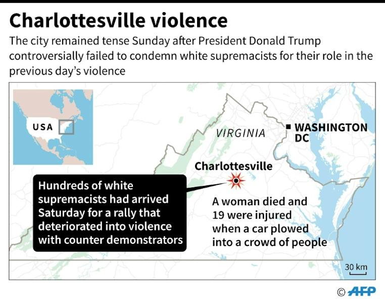 Map of the US state of Virginia locating Charlottesville, where hundreds of white supremacists held a rally on Saturday that deteriorated into violence