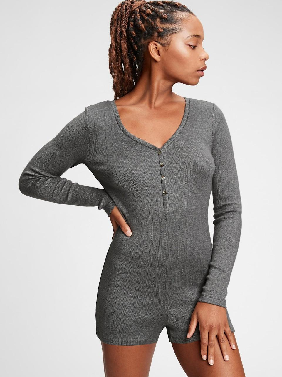 <p>This <span>Gap Softest One-Piece</span> ($51, originally $60) is technically in the henley family and is a must have for lounging around the house!</p>