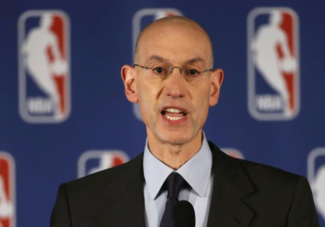 NBA Commissioner Adam Silver speaks at a news conference in New York April 29, 2014. The National Basketball Association was facing mounting pressure to impose a harsh punishment on Los Angeles Clippers owner Donald Sterling for his alleged racist comments that have sparked widespread outrage in the United States. REUTERS/Mike Segar (UNITED STATES - Tags: SPORT BASKETBALL)