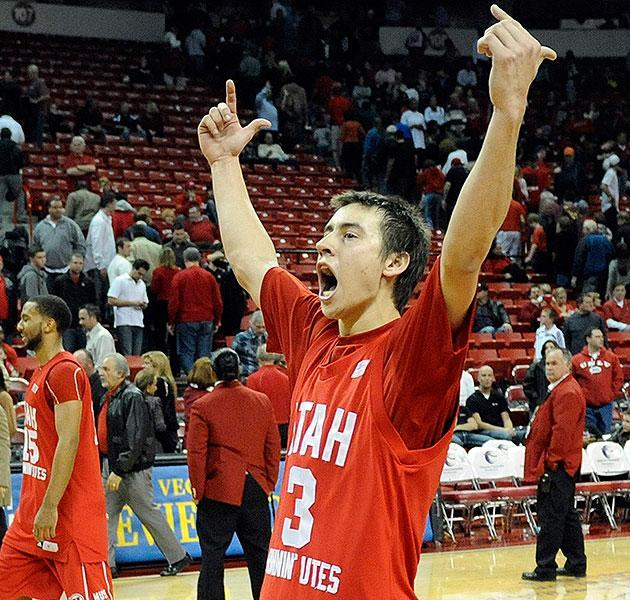 Marshall Henderson celebrates a Utah win. Henderson transferred from Utah to Mississippi in 2011. (Getty)