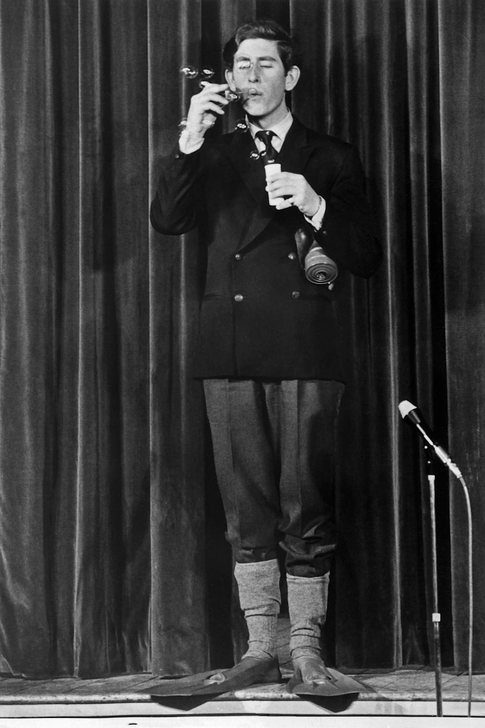 Prince Charles of Wales during his performance 'Wether 'tis nobler..' on 24 February 1970. (AFP via Getty Images)