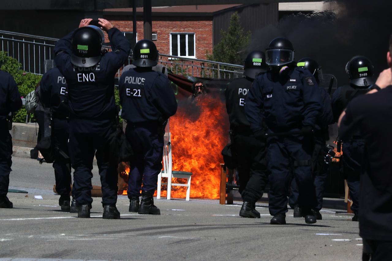 <p>Riot police confront protesters during the G7 Summit in Quebec City, Quebec, Canada, June 8, 2018. (Photo: Jonathan Ernst/Reuters) </p>