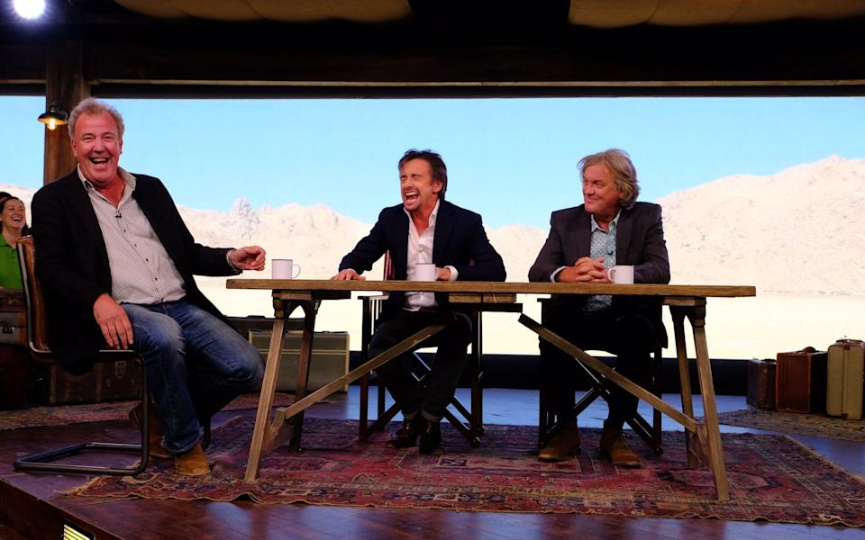 Clarkson, Hammond and May in the Grand Tour tent - amazon