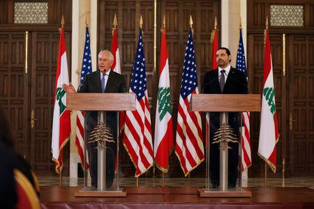 U.S. Secretary of State Rex Tillerson gestures as he talks during a joint news conference with Lebanon's Prime Minister Saad al-Hariri at the governmental palace in Beirut, Lebanon, February 15, 2018. REUTERS/Mohamed Azakir