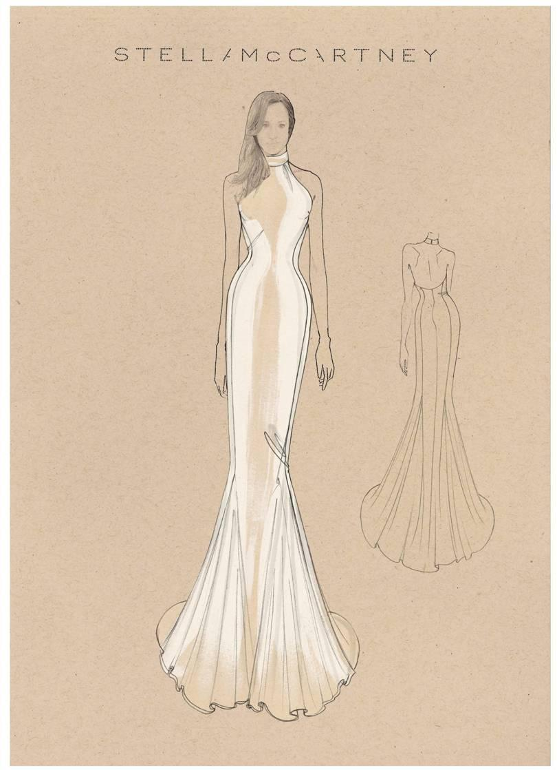 A sketch of Meghan Markle's reception gown [Photo: Stella McCartney]