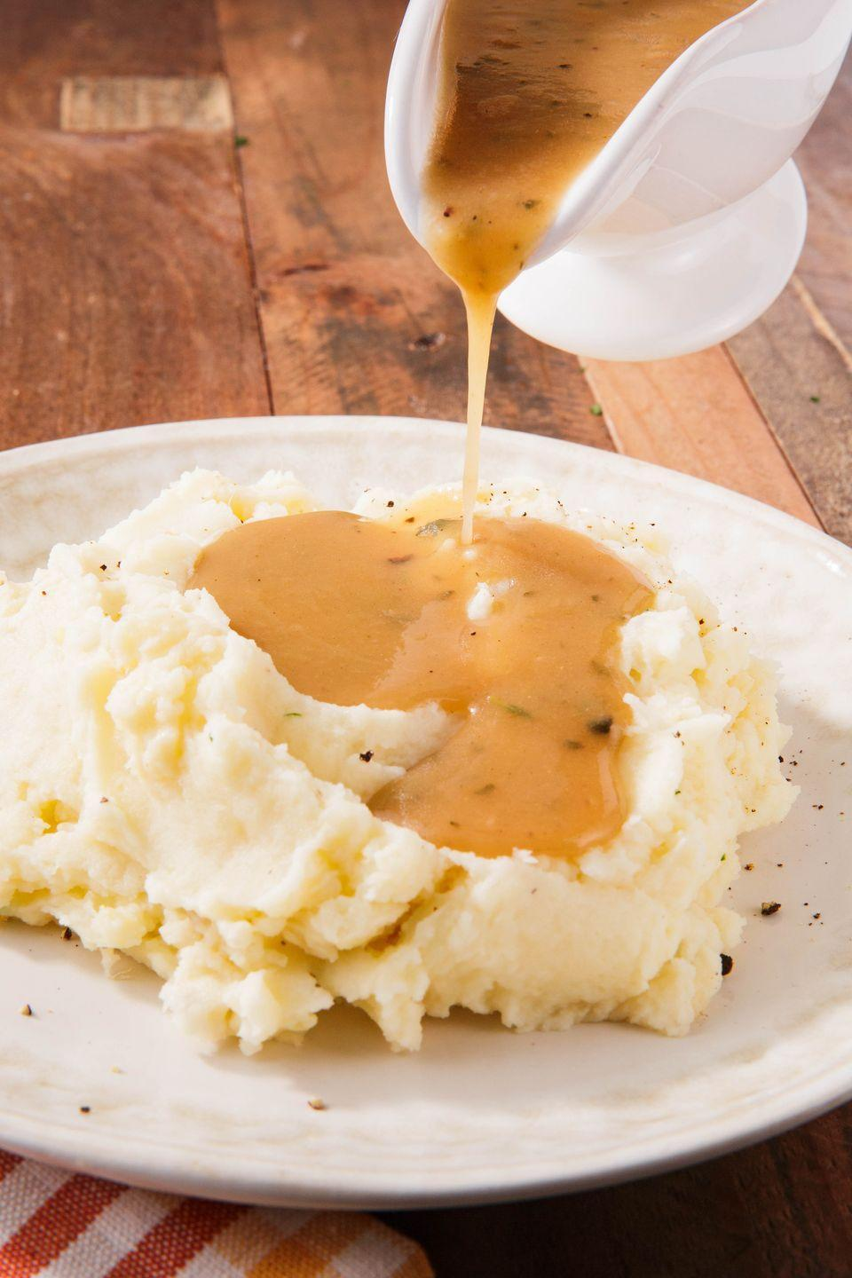 """<p>Butter and herbs give this gravy allll the flavor.</p><p>Get the recipe from <a href=""""https://www.delish.com/holiday-recipes/thanksgiving/a24520700/gluten-free-gravy-recipe/"""" rel=""""nofollow noopener"""" target=""""_blank"""" data-ylk=""""slk:Delish"""" class=""""link rapid-noclick-resp"""">Delish</a>.</p>"""