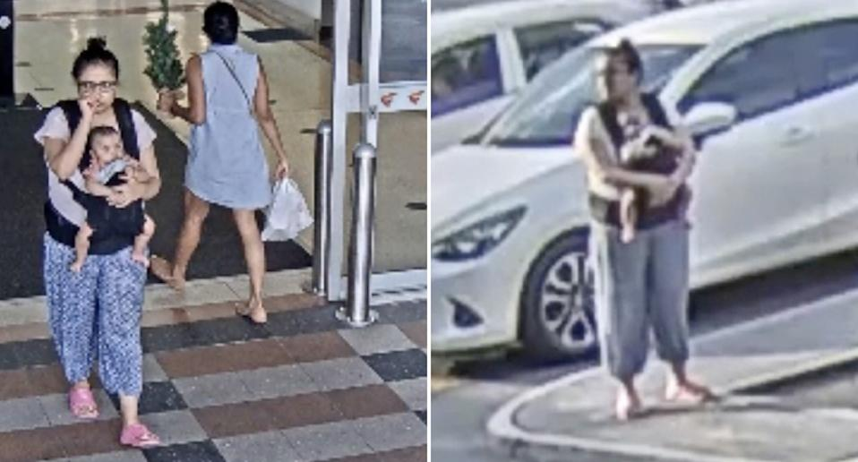 A woman seen carrying a baby at a Buranda shopping centre.