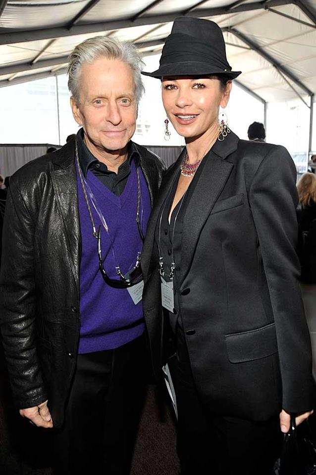 "Michael Douglas, who recently announced that he has won his battle with throat cancer, and his wife Catherine Zeta-Jones also attended the FOX fete. The ""Wall Street"" star kicked off the big game with a pre-taped video segment he had written himself entitled ""The Journey,"" which told the story of how the Pittsburgh Steelers and the Green Bay Packers made it to Super Bowl XLV. Kevin Mazur/<a href=""http://www.wireimage.com"" target=""new"">WireImage.com</a> - February 6, 2011"