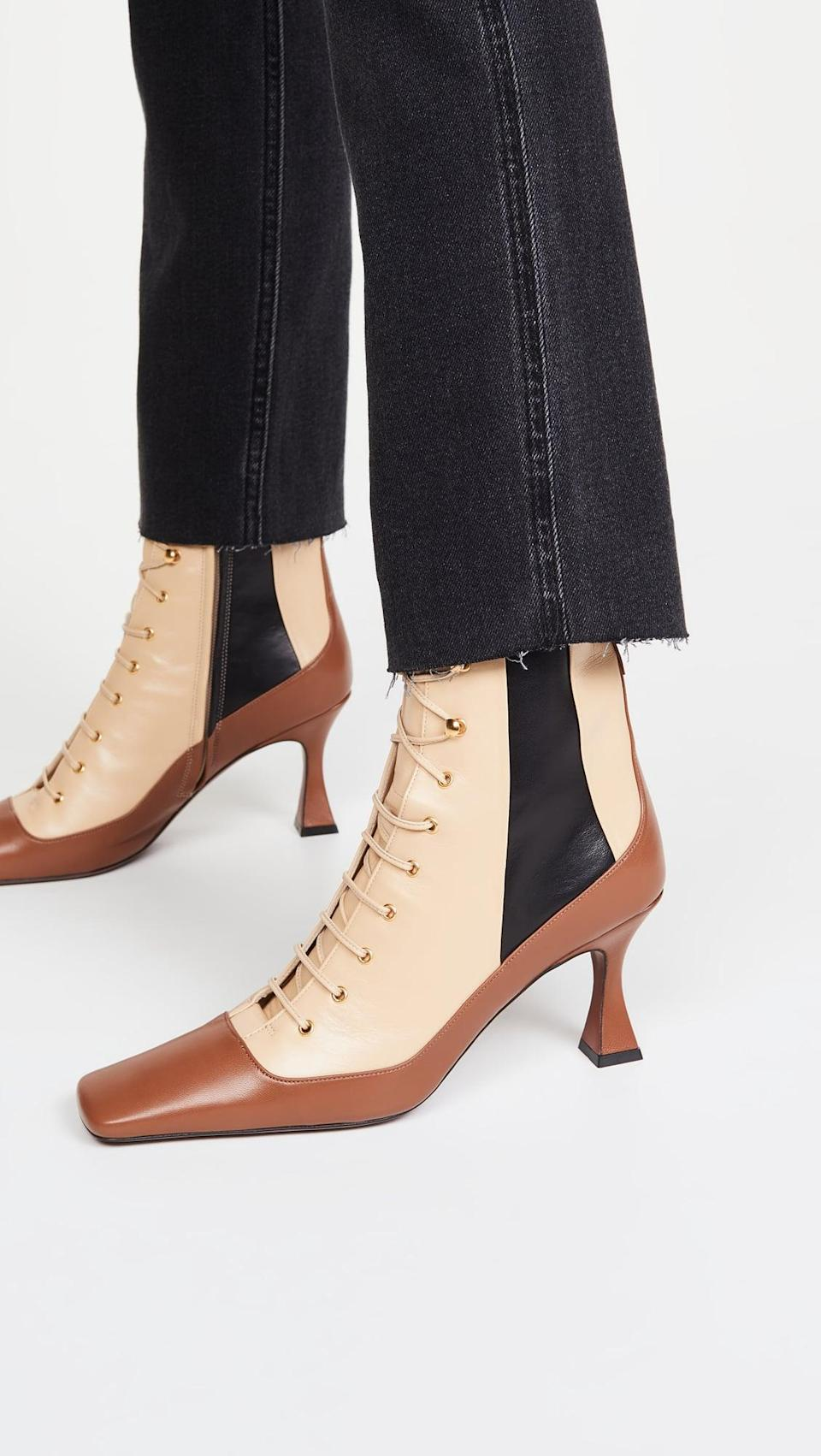 <p>These show-stopping <span>MANU Atelier Duck Lace Up Boots</span> ($595) will get you tons of compliments.</p>