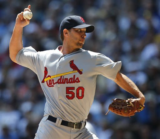 St. Louis Cardinals starting pitcher Adam Wainwright throws against the Milwaukee Brewers during the first inning of a baseball game Wednesday, July 18, 2012, in Milwaukee. (AP Photo/Jeffrey Phelps)