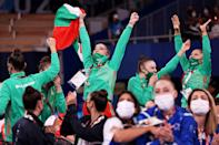 <p>Team Bulgaria reacts after winning the gold medal during the Rhythmic Gymastics the Group All-Around Final.</p>