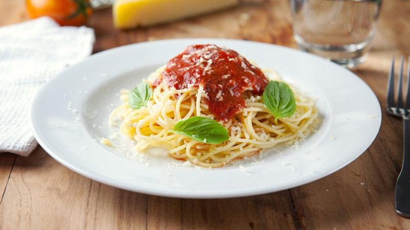 """Pasta topped with <a href=""""https://ndb.nal.usda.gov/ndb/foods/show/19434?manu=&amp;fgcd=&amp;ds="""" target=""""_blank"""">1/2 cup of jarred tomato sauce</a>: 8 grams. <br /><br />Pasta sauce is one of those sneaky sugar sources we often talk about. Not all brands are high in the sweet stuff though, so check the label before you put it in your shopping cart. Or better yet, make your own."""